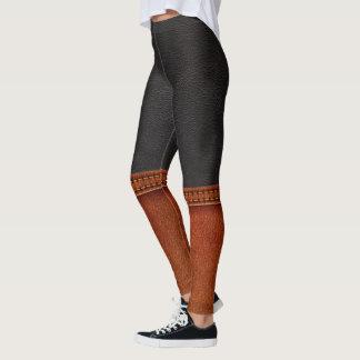 Legging Caneleiras do pop da ILUSÃO do couro e das botas