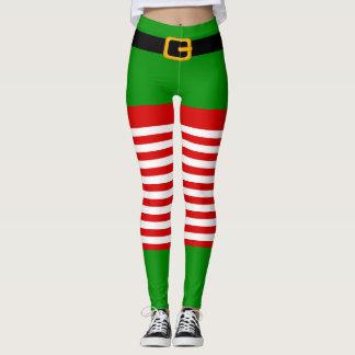 Legging Caneleiras do traje do duende do Natal
