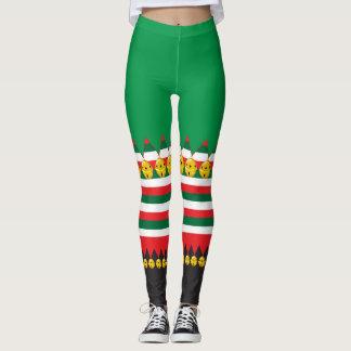 Legging Caneleiras do traje do duende do Natal de Bels de