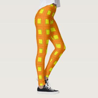 Legging Caneleiras dos blocos da laranja e do amarelo