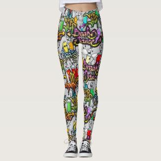 Legging Caneleiras dos grafites de Hip Hop