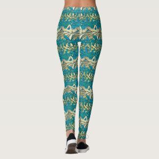 Legging Caneleiras douradas azuis do cromo de Havaí