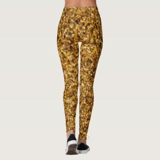 Legging Caneleiras douradas da camuflagem