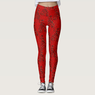 Legging Caneleiras elegantes do damasco do vermelho swirly
