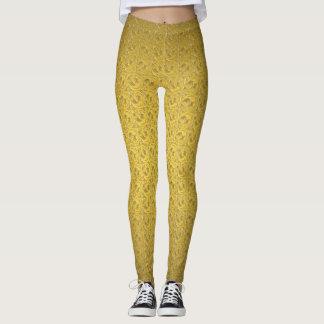Legging Caneleiras elegantes do teste padrão do ouro