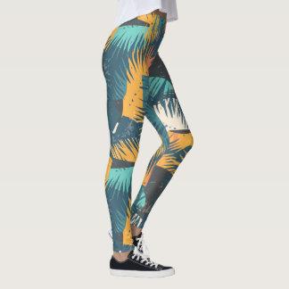 Legging Caneleiras em folha de palmeira abstratas do teste