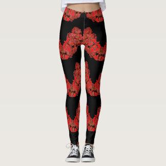Legging Caneleiras em rosas originais vermelhos e pretos