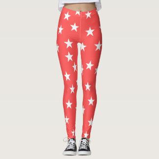 Legging Caneleiras estrelados estrelados vermelhas