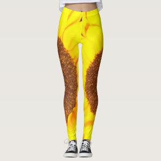Legging Caneleiras florais amarelas de Brown do girassol