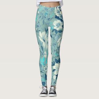 Legging Caneleiras florais azuis da ioga/exercício do