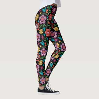Legging Caneleiras florais da forma do pop do divertimento