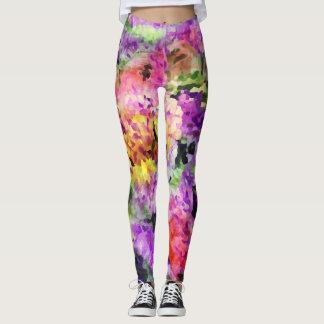 Legging Caneleiras florais do arco-íris elegante