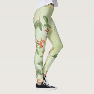 Legging Caneleiras florais do teste padrão do vintage