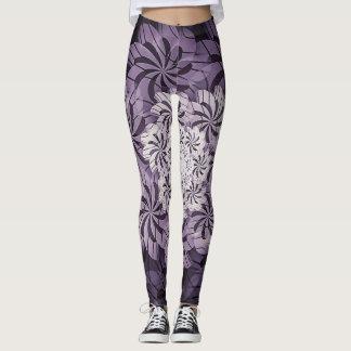 Legging Caneleiras florais malva & brancas legal da arte