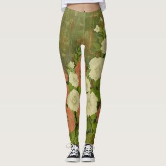 Legging Caneleiras florais Vermelho-Brancas