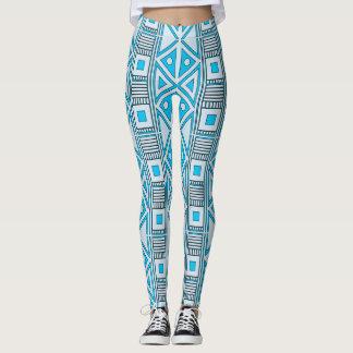 Legging Caneleiras geométricas azuis do teste padrão