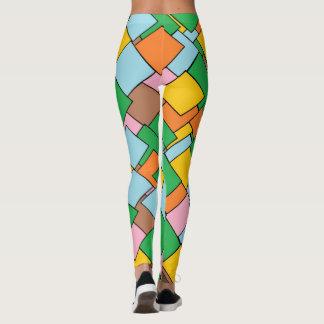 Legging Caneleiras geométricas coloridas legal do teste