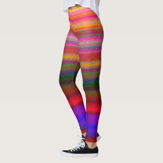 Legging Caneleiras impressas do arco-íris listra brilhante