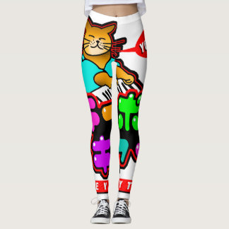 Legging Caneleiras japonesas do gato YOROSHIKU do teclado