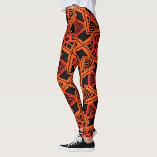 Legging Caneleiras Jimette Desenho cor de laranja e preto