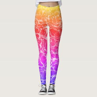 Legging Caneleiras líquidas do arco-íris