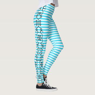 Legging Caneleiras listradas azuis do Aqua da videira de