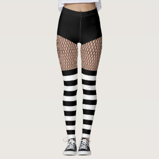 Legging Caneleiras listradas do Fishnet das meias do falso
