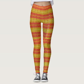 Legging Caneleiras - listras do Crochet na laranja e no