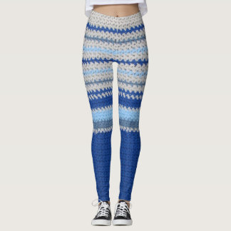Legging Caneleiras - listras do Crochet no azul