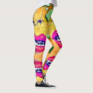 Legging Caneleiras más quentes de fumo do pop art do amor