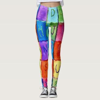 Legging Caneleiras na moda legal da ioga do alfabeto da