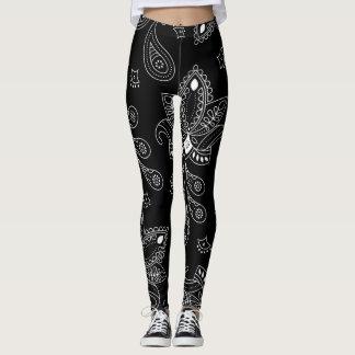 Legging Caneleiras pretas/brancas das mulheres do design