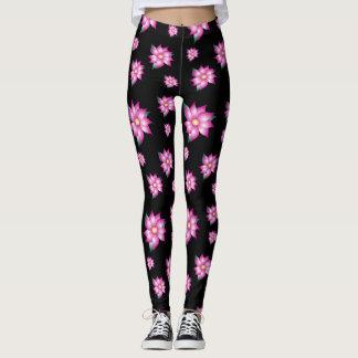 Legging Caneleiras pretas com rosa fúcsia