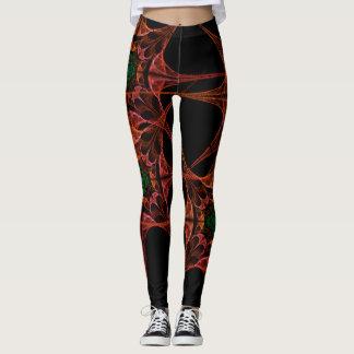 Legging Caneleiras pretas e vermelhas do design asiático