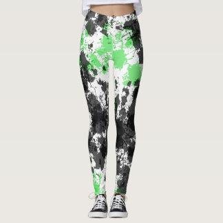 Legging Caneleiras pretas verdes de Splat da pintura