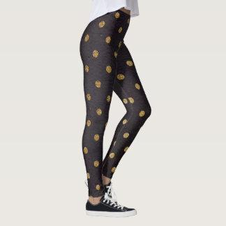 Legging Caneleiras/preto com bolinhas do ouro