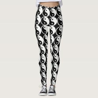 Legging Caneleiras preto e branco das caneleiras de Yin