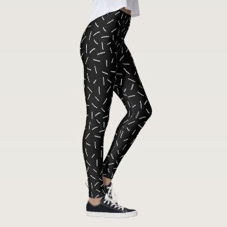 Legging Caneleiras preto e branco do estilo 80s