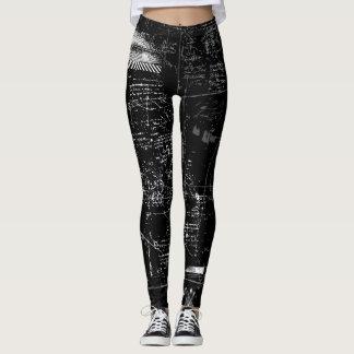 Legging Caneleiras preto e branco do Grunge