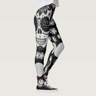 Legging caneleiras preto e branco do impressão da coxa do