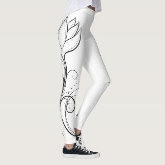 Legging Caneleiras preto e branco femininos dos lótus