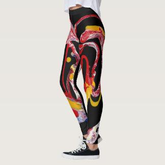 """Legging Caneleiras preto, Multi-Colorido - """"coração louco"""