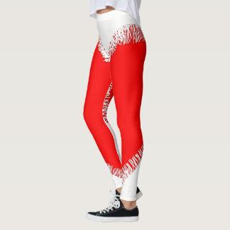 Legging Caneleiras rasgadas vermelhas e brancas de pano