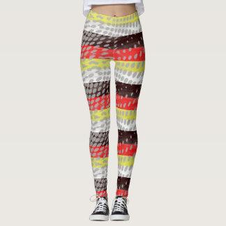 Legging caneleiras stripy manchadas Multi-coloridas do na