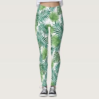 Legging Caneleiras tropicais das folhas de palmeira da