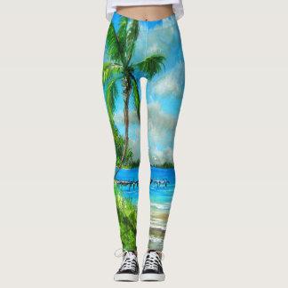 Legging Caneleiras tropicais do design da cena de Florida