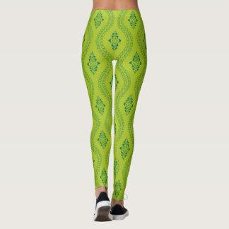 Legging Caneleiras verdes decorativas do fundo do teste