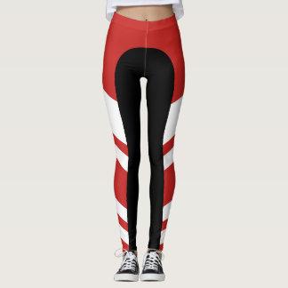 Legging Caneleiras vermelhas/brancas/pretas da banda