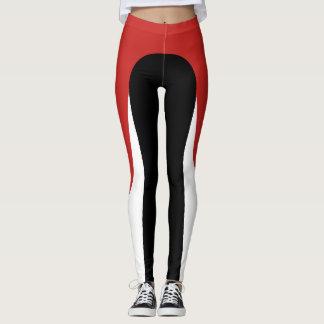 Legging Caneleiras vermelhas/brancas/pretas do teste
