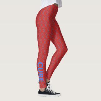 Legging Caneleiras vermelhas e azuis do costume da fita da